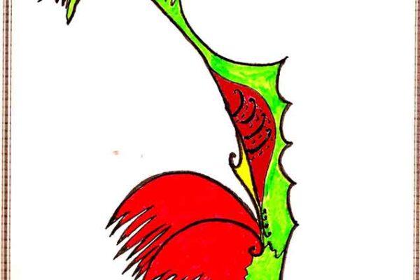 Gallo Rojo, pintura original de Miguel F. Villegas